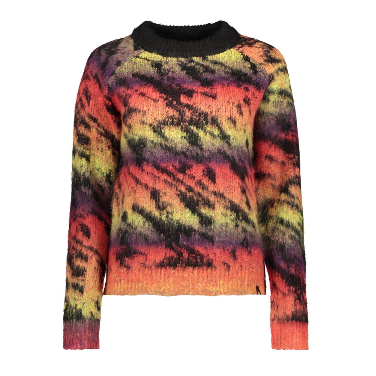 nmmartin l/s o-neck knit h 27009534 noisy may trui black/multi colo