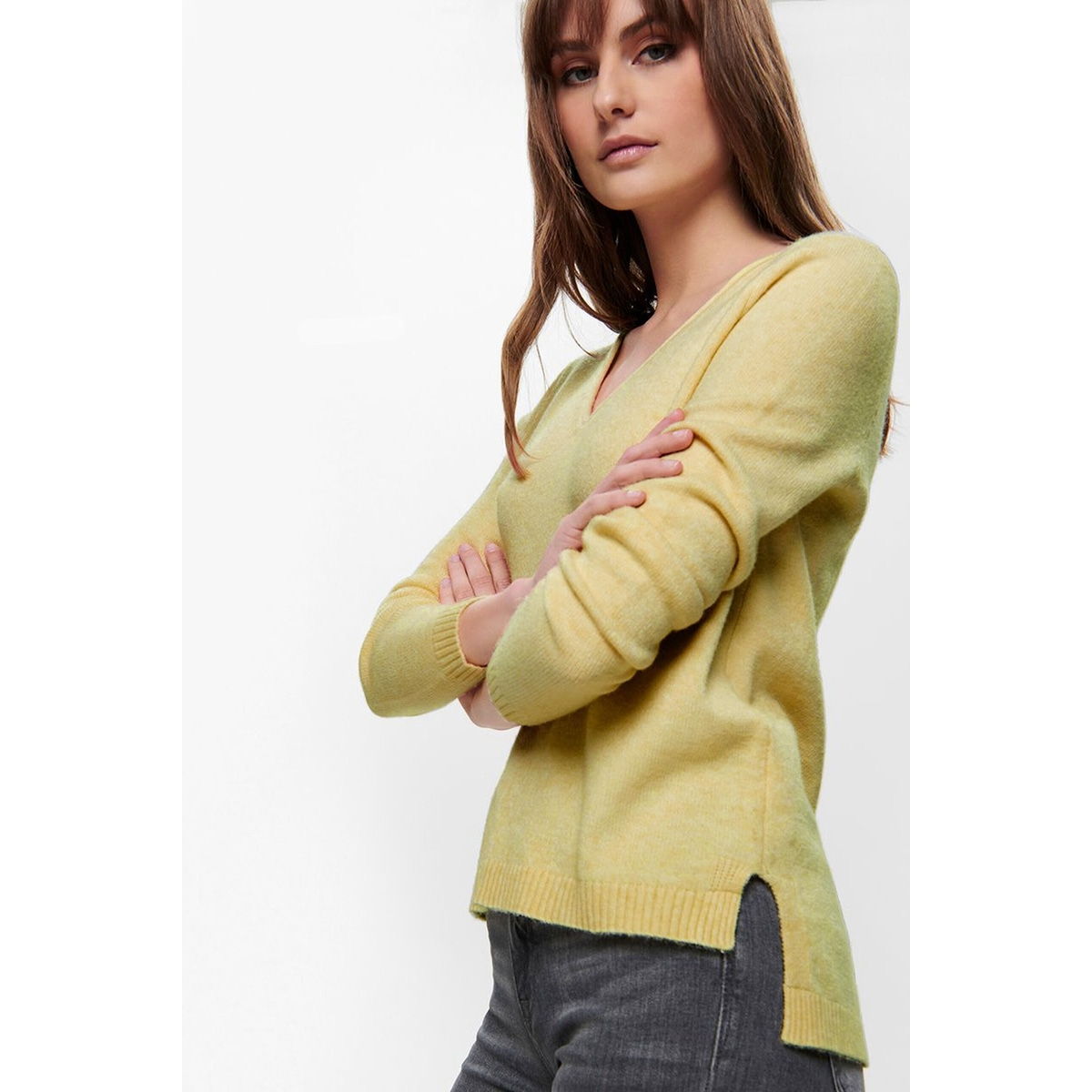 onllesly new v-neck pullover knt 15192254 only trui elfin yellow/w. melange