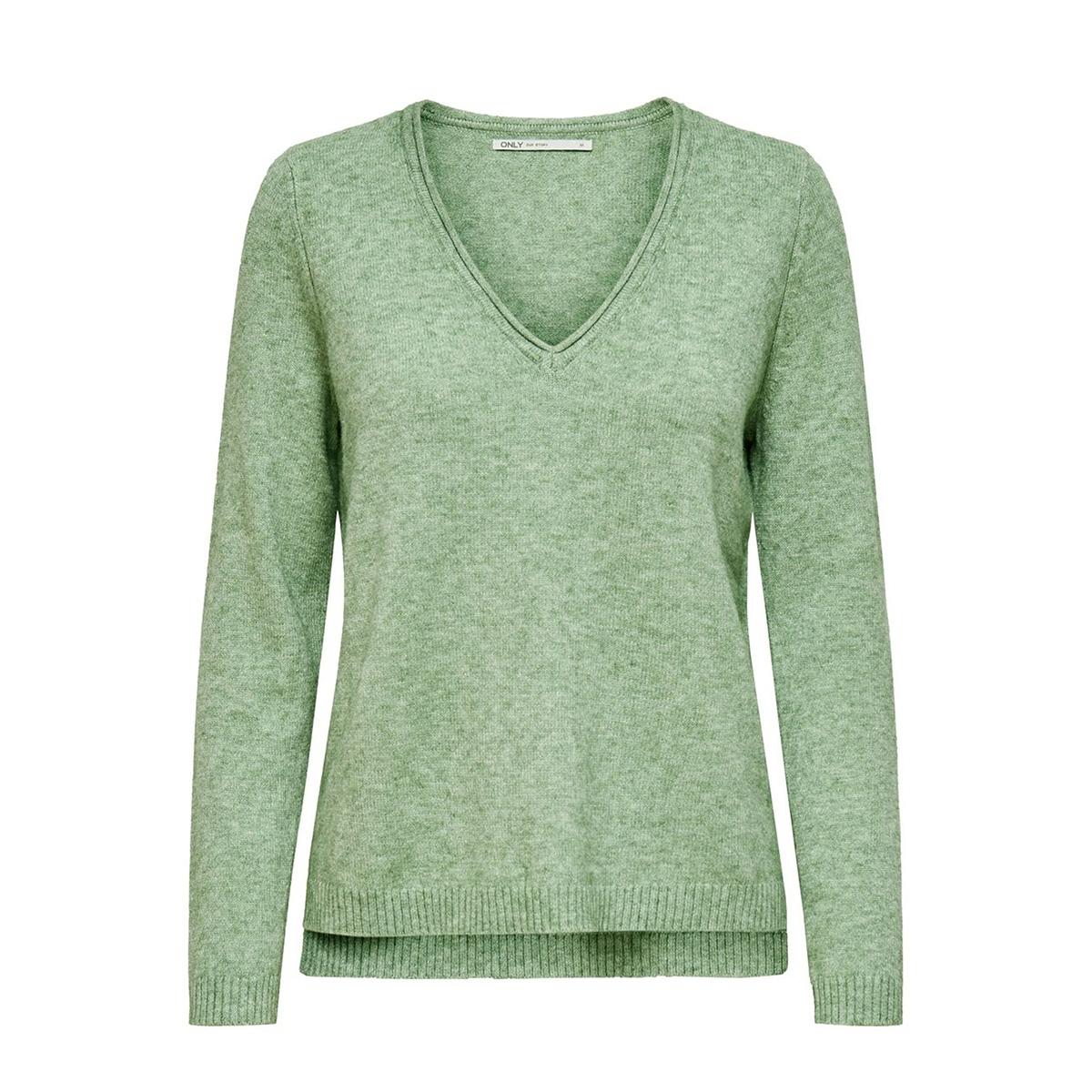 onllesly new v-neck pullover knt 15192254 only trui basil/w. melange