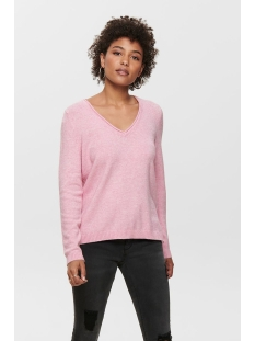 onllesly new v-neck pullover knt 15192254 only trui light pink