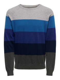 Only & Sons Trui ONSMIKKEL 12 SOFT  BLOCKED RAGLAN K 22015212 Federal Blue