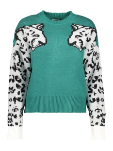 Noisy may Trui NMCOOL L/S O-NECK KNIT 27013215 Teal Green