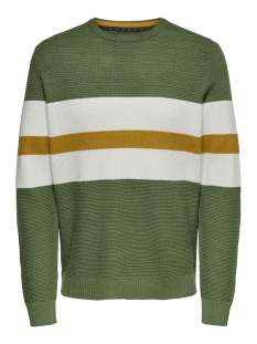 onsronald 12 stripes struc knit 22015092 only & sons trui oil green