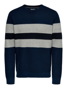 Only & Sons Trui ONSRONALD 12 STRIPES STRUC KNIT 22015092 Dress Blues