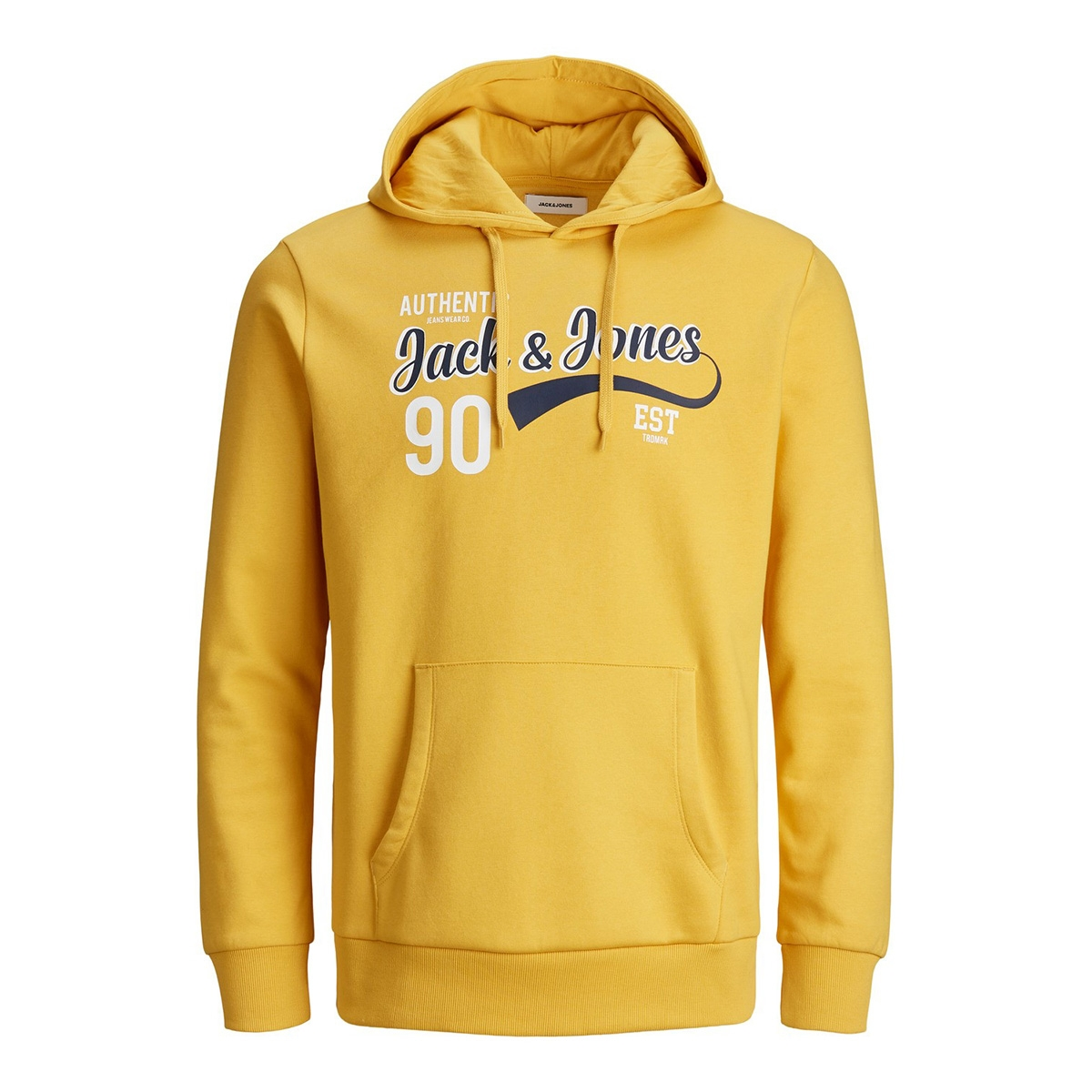 jjelogo sweat hood 2 col 19/20 noos 12157324 jack & jones sweater yolk yellow/reg.