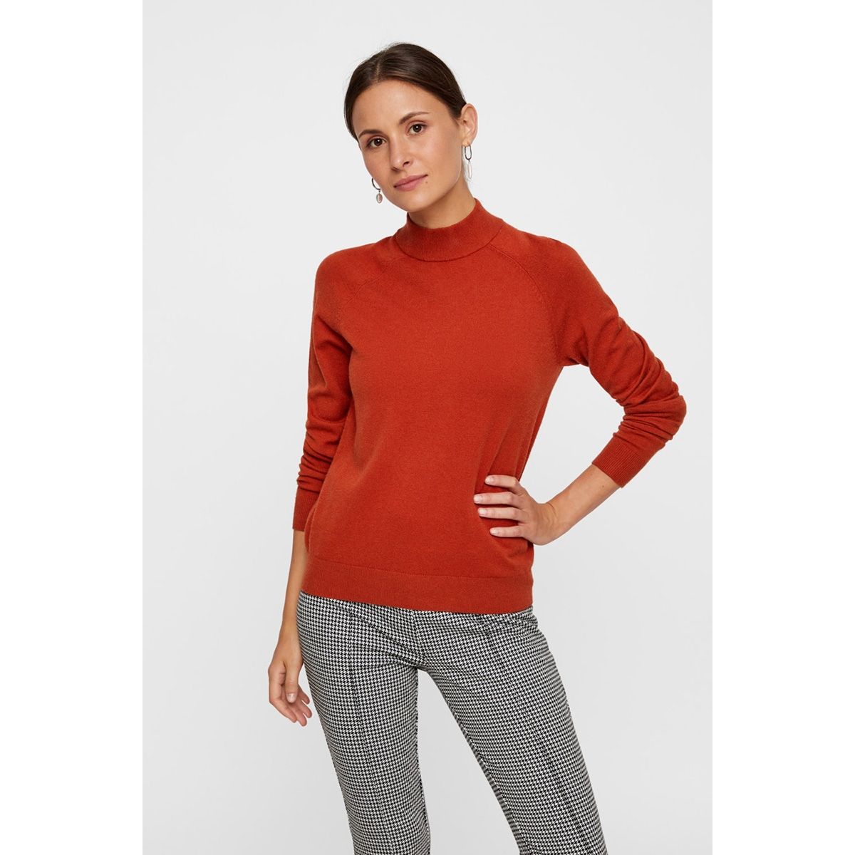 pckalissa ls high neck knit noos 17093409 pieces trui chili oil