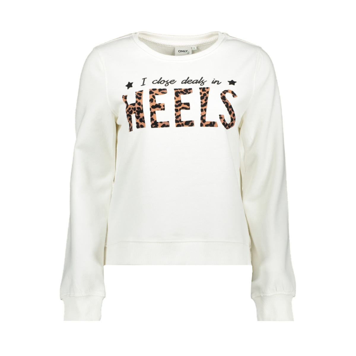 onlfran l/s o-neck animal swt 15203403 only sweater bright white/heels
