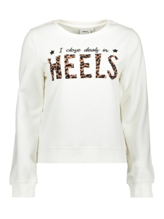Only sweater ONLFRAN L/S O-NECK ANIMAL SWT 15203403 Bright White/HEELS