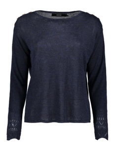 Vero Moda Trui VMELEOBUTTON LS BOATNECK BLOUSE FR 10225257 Night Sky