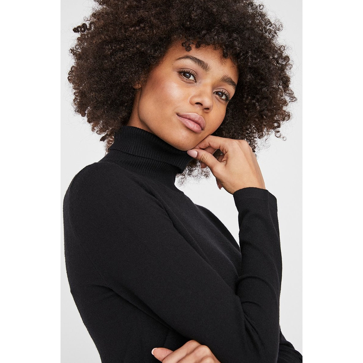 vmhappy ls rollneck dress boo 10222502 vero moda jurk black