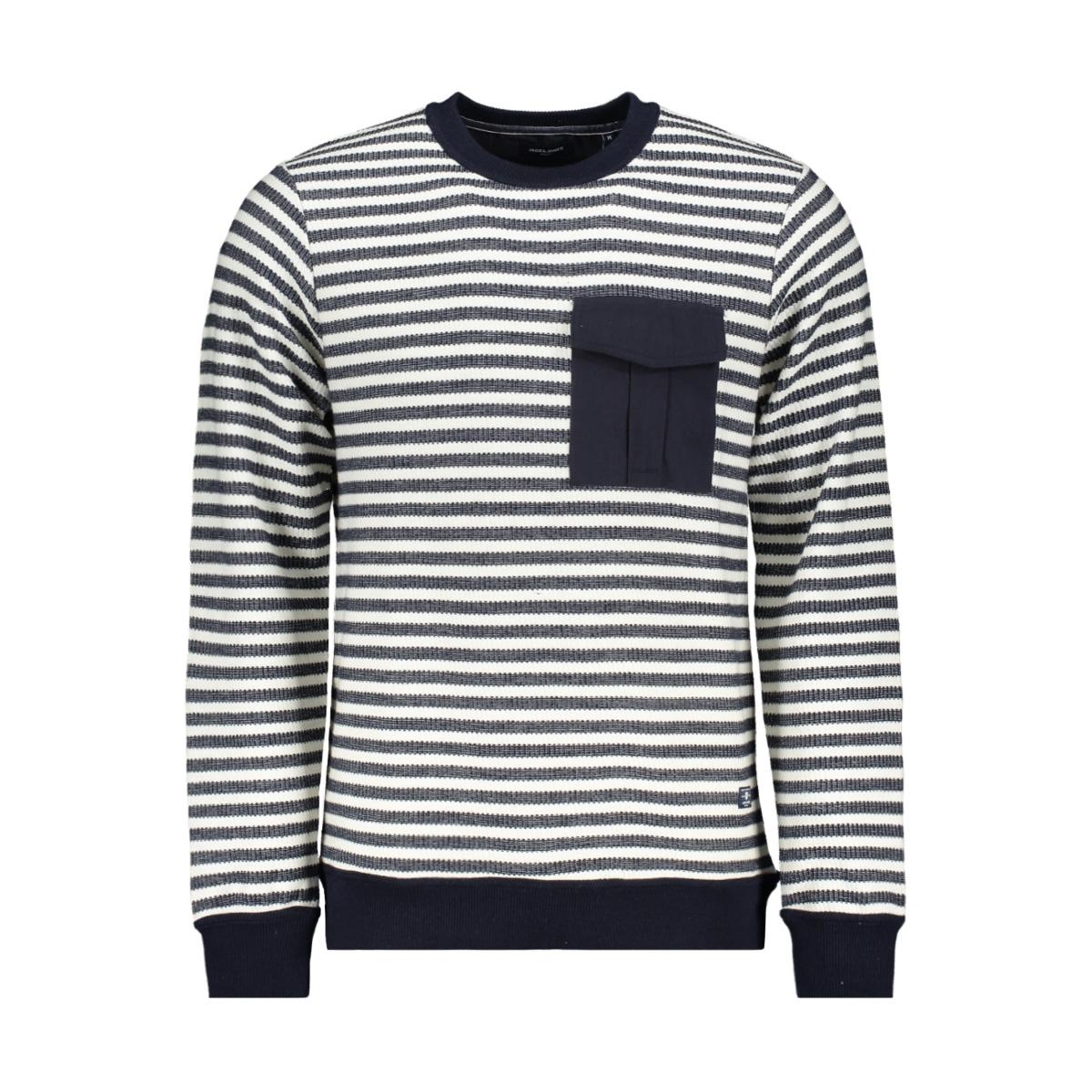 jprdenim stripe blu. sweat crew nec 12163955 jack & jones trui white/slim fit
