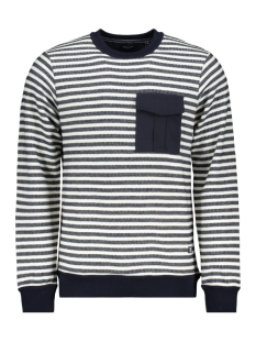 Jack & Jones Trui JPRDENIM STRIPE BLU. SWEAT CREW NEC 12163955 White/SLIM FIT