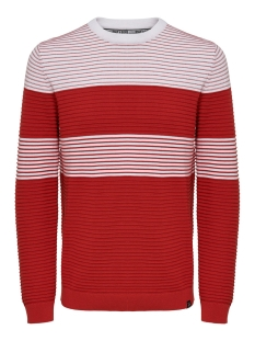 Only & Sons Trui ONSNYKKO 12 STRIPED STRUC KNIT 22015514 Pompeian Red