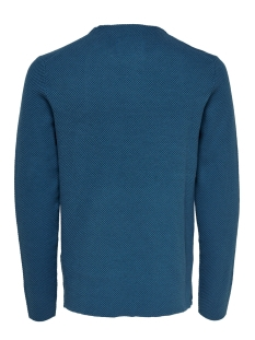 onsnicklas structured crew neck kni 22015522 only & sons trui dark blue