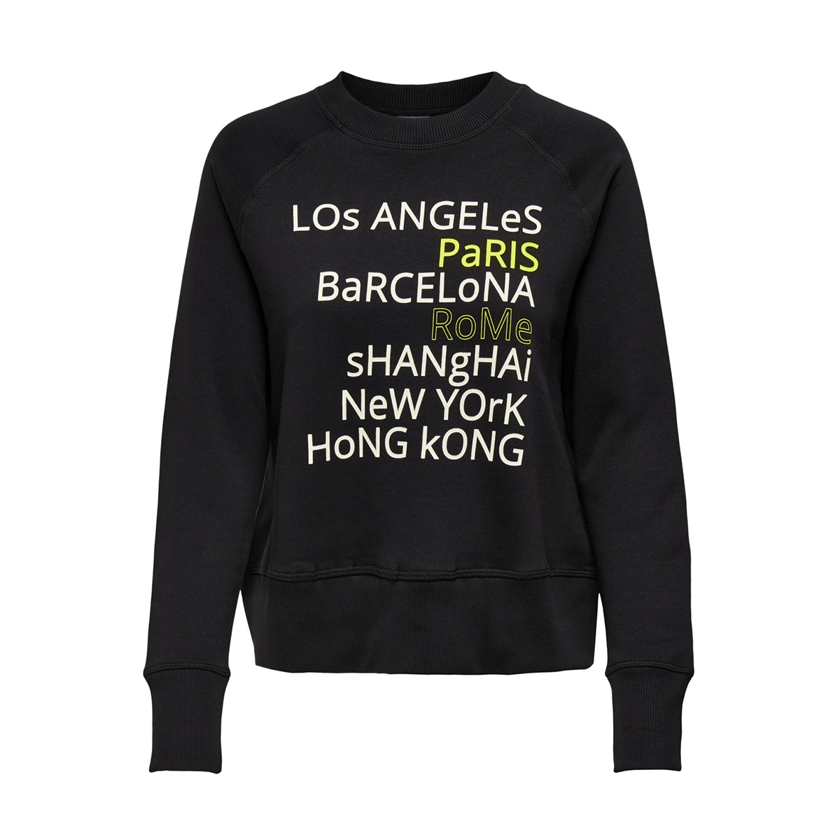 jdyzilda life l/s print sweat jrs 15200616 jacqueline de yong sweater black/city