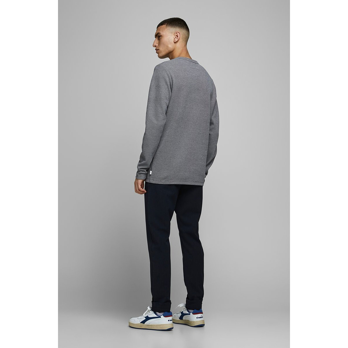 jprblu win sweat ls crew neck ka 12174097 jack & jones sweater navy blazer/twisted
