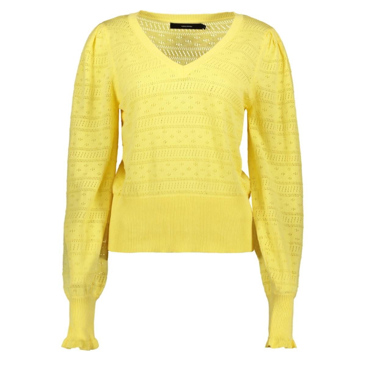 vmviolapuff ls v-neck blouse 10227574 vero moda trui pale banana
