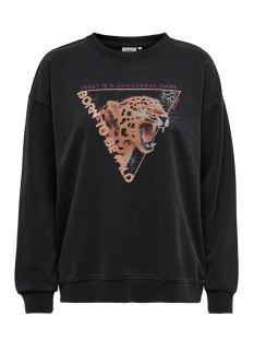 Only sweater ONLPURMEREND L/S O-NECK SWT 15214491 Black/LEOPARD BO
