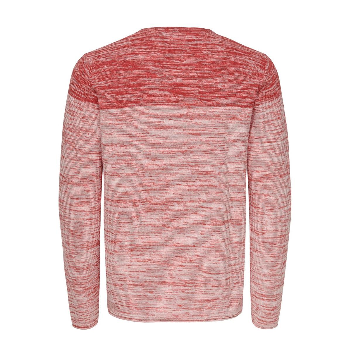 onsnoel 12 blocked melange knit 22015523 only & sons trui cranberry