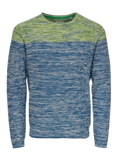 onsnoel 12 blocked melange knit 22015523 only & sons trui dark blue