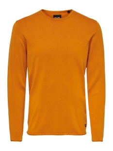 onsgarson 12  wash crew neck knit n 22006806 only & sons trui marmalade