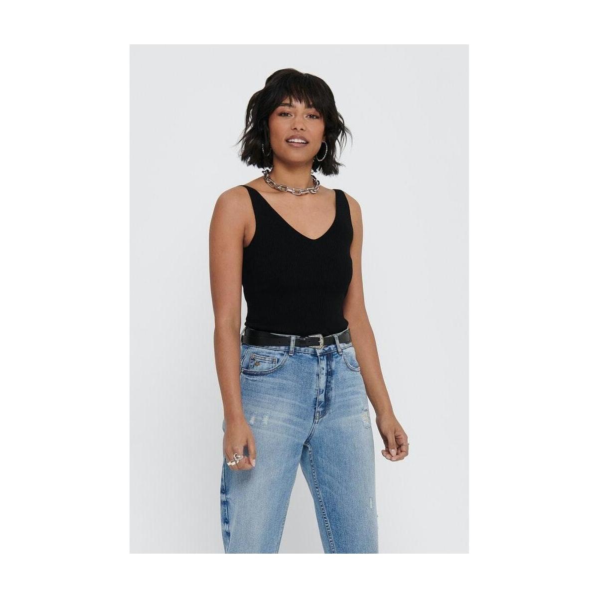 jdynanna s/l top knt noos 15180497 jacqueline de yong top black