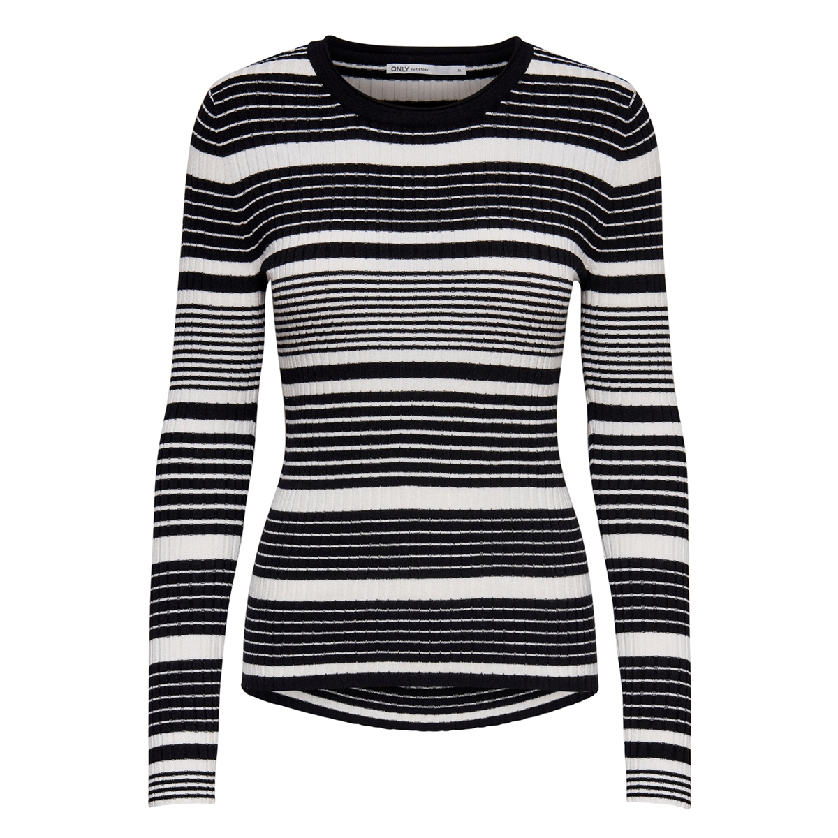 onlnatalia stripe  l/s pullover knt 15192525 only trui black stripes/cloud dancer