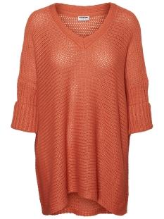 nmvera 3/4 v-neck knit 27005581 noisy may trui crabapple