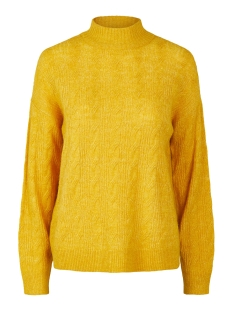 Pieces Trui PCBECKY LS HIGH NECK CABLE KNIT NOO 17106808 Nugget Gold