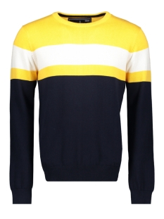 Haze & Finn Trui KNIT COLOR BLOCK MU11 0207 GOLDEN ROD-WHITE-NAVY