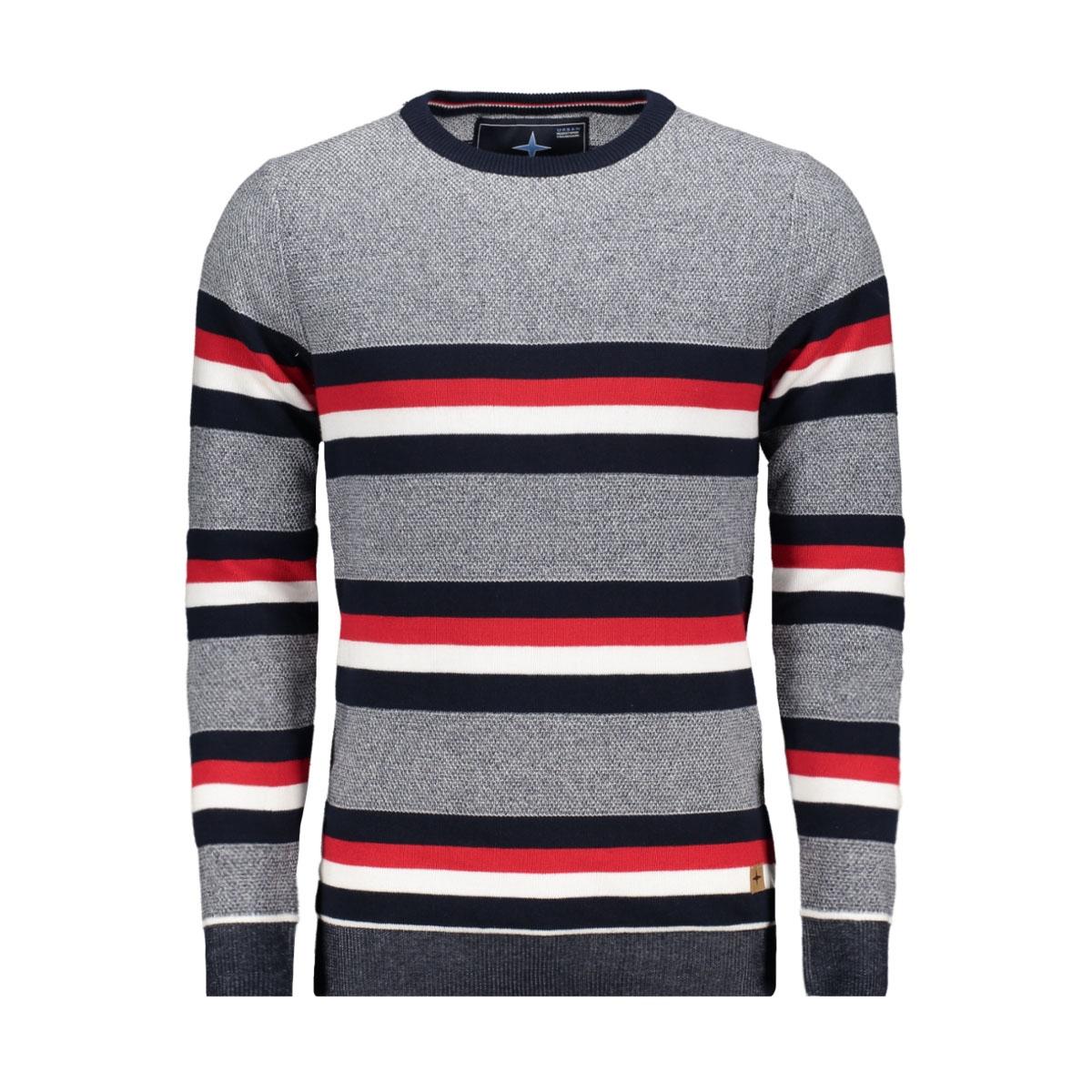 knit double fabric mu11 0210 haze & finn trui navy-red-white