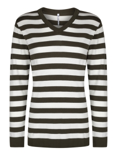 knitted top stripe kn1910 zoso trui army/off white