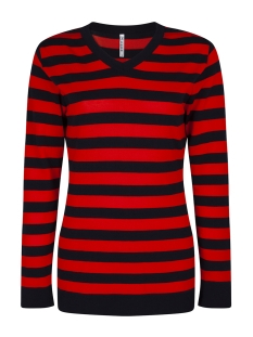 Zoso Trui KNITTED TOP STRIPE KN1910 NAVY ORANGE RED