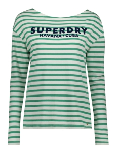 Superdry Trui HAVANA LONG SLEEVE G60406MU APPLE GREEN STRIPE