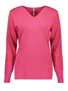 Zoso Trui KIRSTEN 194 STRIPED SWEATER FUCHSIA/ORANGE
