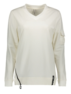 pika sweater with zipper 194 zoso sweater off white/black