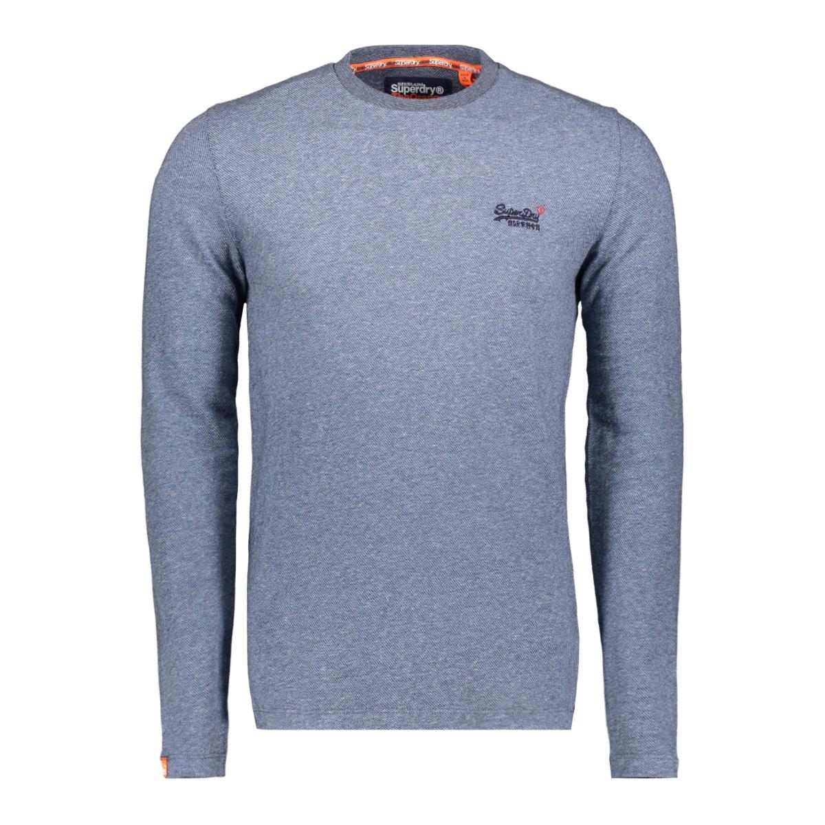 twill texture ls top m6000011a superdry t-shirt basalt blue texture