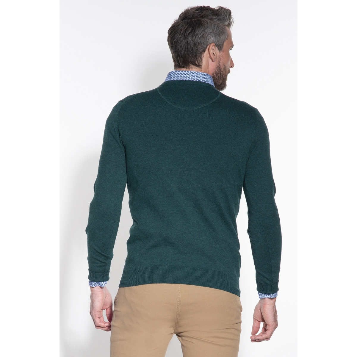 classic pullover v hals 050098 campbell trui 005 donkergroen uni