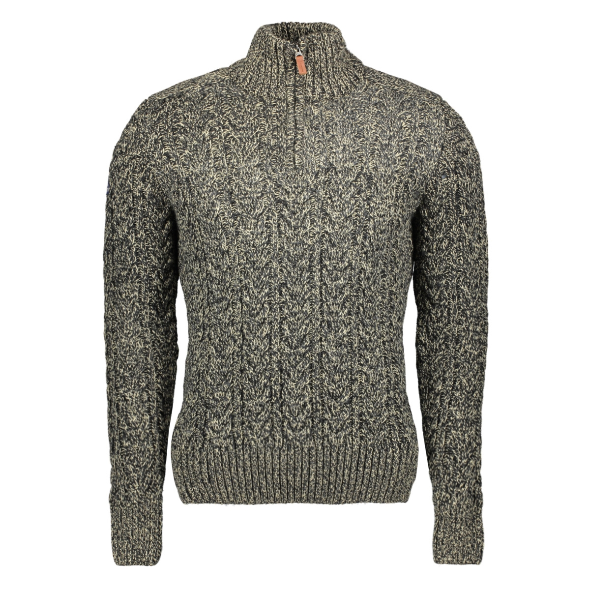 jacob henley m61004mr superdry trui stovepipe grey twist