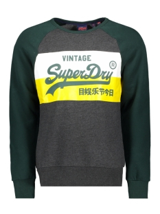 Superdry sweater VL SWEAT SHIRT STONE COLOURBLOCK CREW M2000135B GRAPHITE DARK MARL