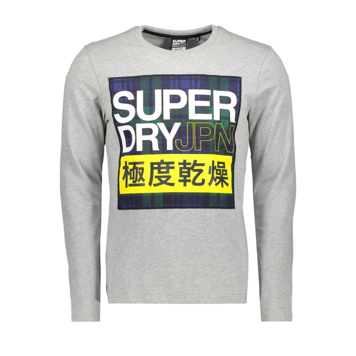 crafted check ls tee m6000029a superdry t-shirt grey marl