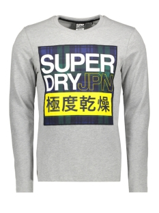Superdry T-shirt CRAFTED CHECK LS TEE M6000029A GREY MARL