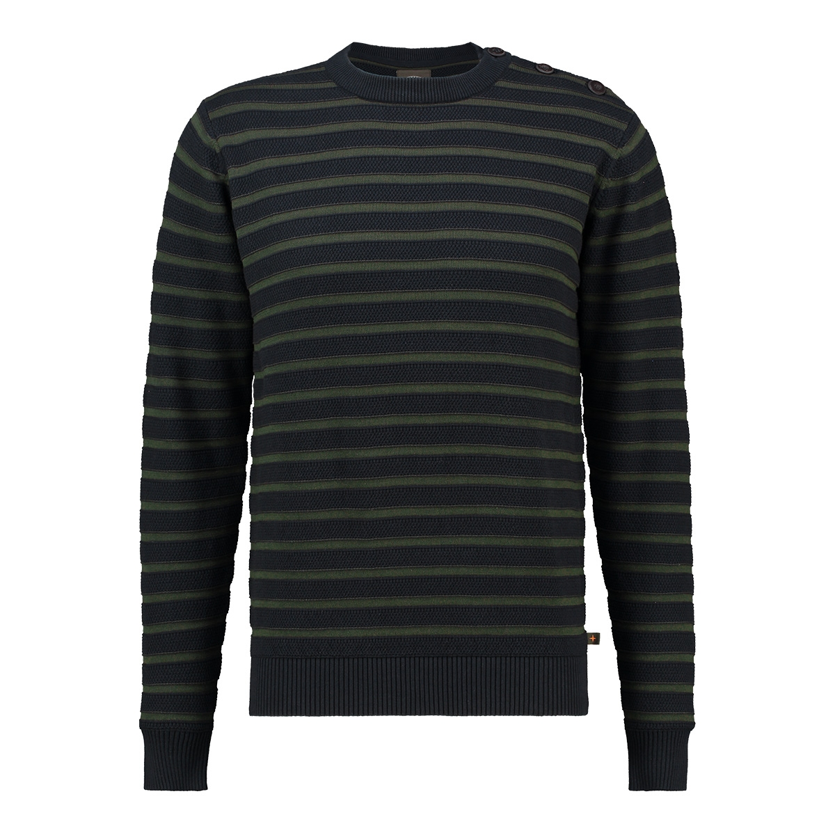knit striped button mu13 0211 haze & finn trui sapphire army green