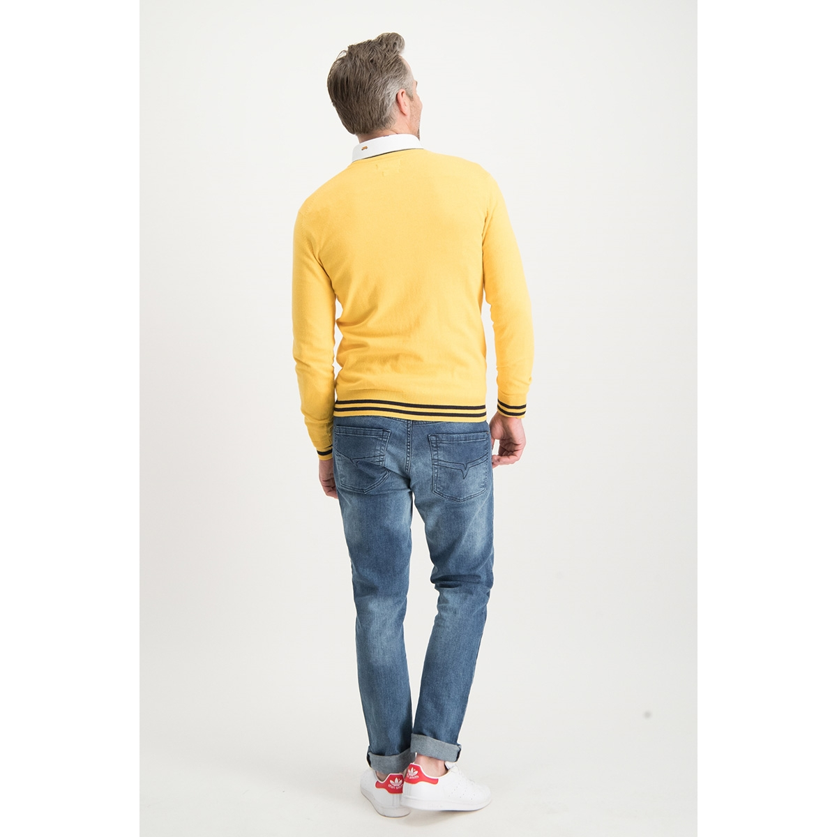 knit v mc13 0200 haze & finn trui mellow yellow/sapphire