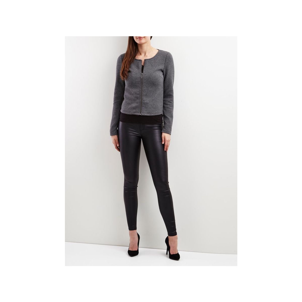 vinaja new short jacket 14032657 vila vest medium grey melange