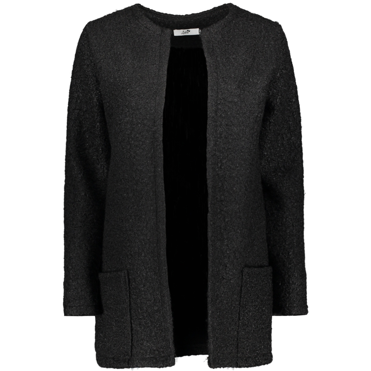 janou teddy cardigan luba vest black