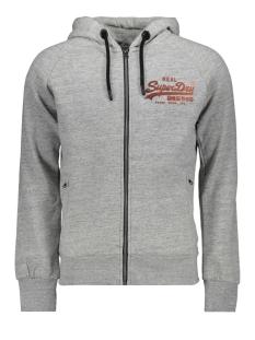 vintage logo monochrome ziphood m2000070b superdry vest chrome grey grit