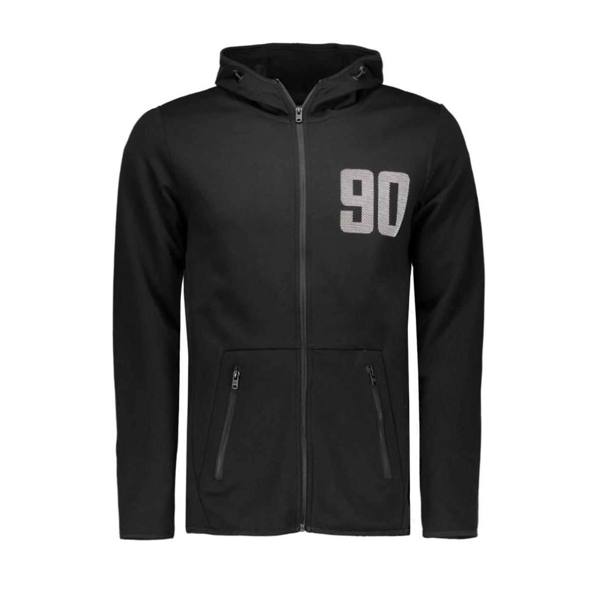 jcokasper sweat zip hood 12108747 jack & jones vest black/slim