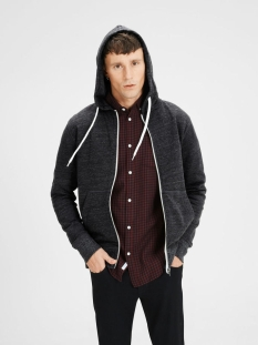 jorstorm sweat zip hood basic noos 12114955 jack & jones vest dark grey melange