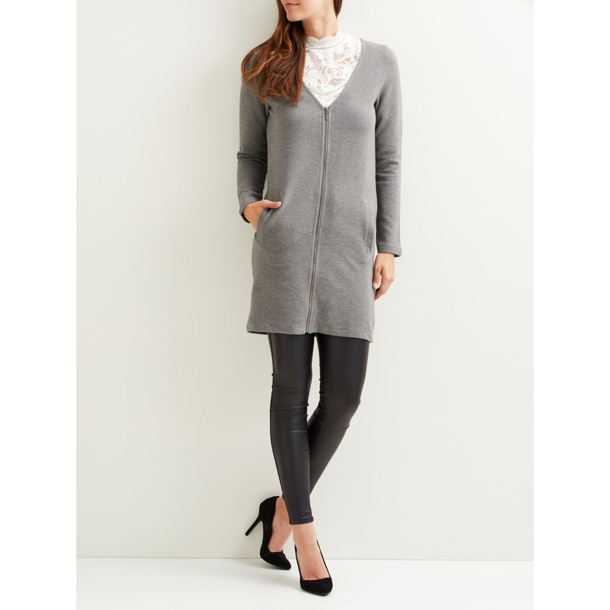 objsanko l/s cardigan 93 23025268 object vest medium grey melange